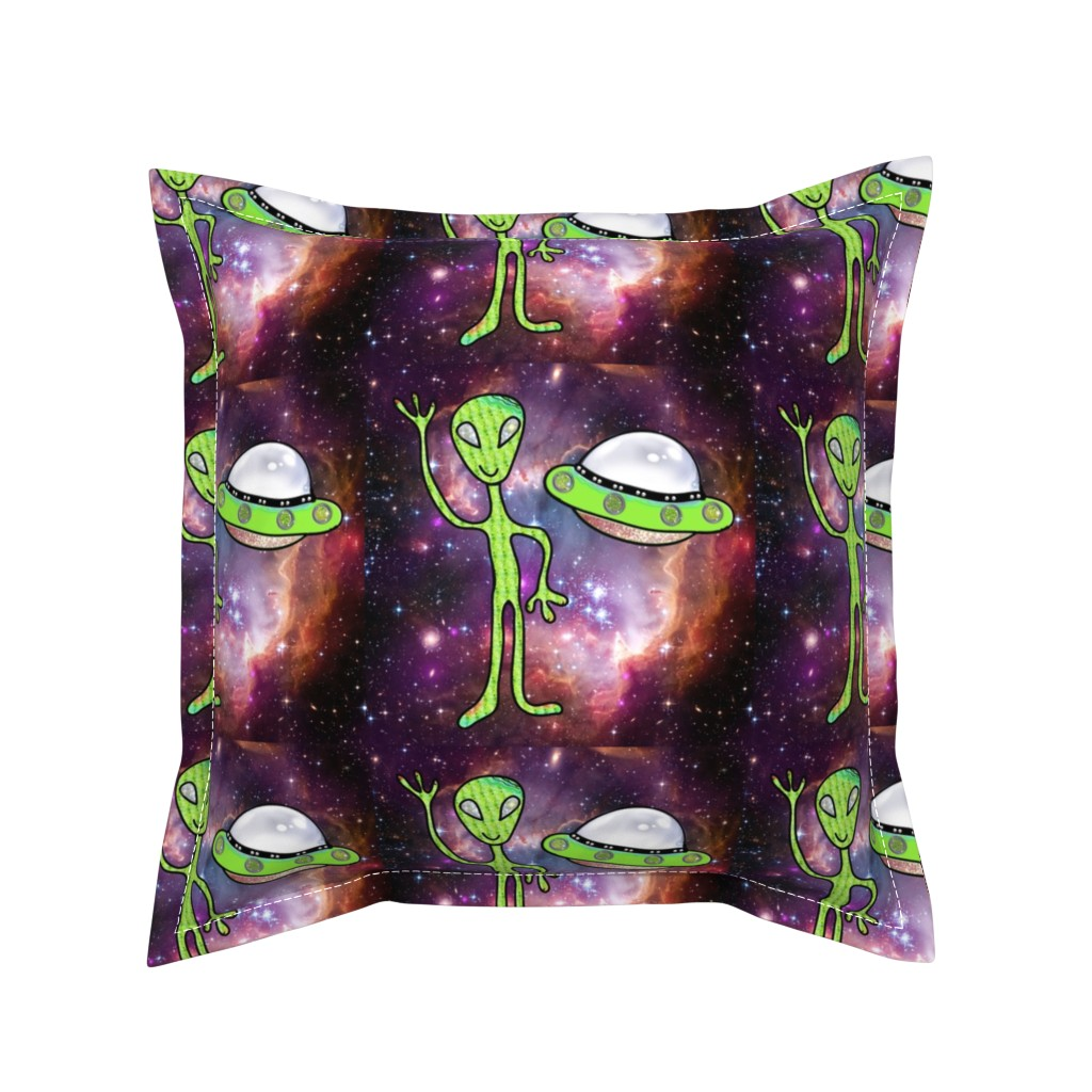 Serama Throw Pillow featuring Alien and UFO DIY Stuffie Project, Cut and Sew by bohobear