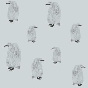 penguin pale blue