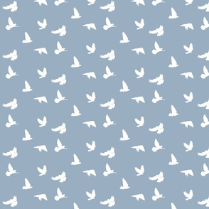 Doves in Flight, Grey Blue for Desert Meadow Collection