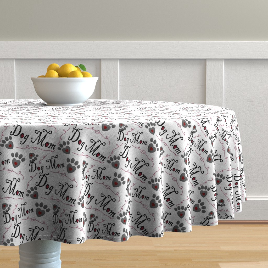 Malay Round Tablecloth featuring Dog Mom paw prints and hearts by therustichome