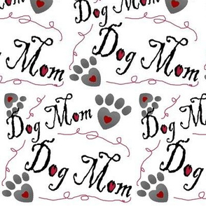 Dog Mom paw prints and hearts