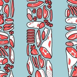 Meat Stripes on blue back - large
