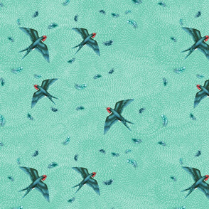Love and Swooping Swallows on Turquoise