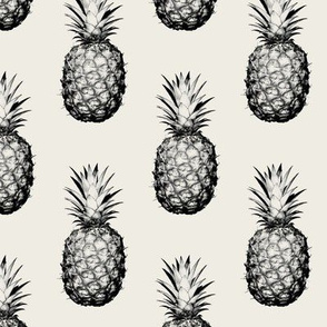 Pineapples Black and Cream Small