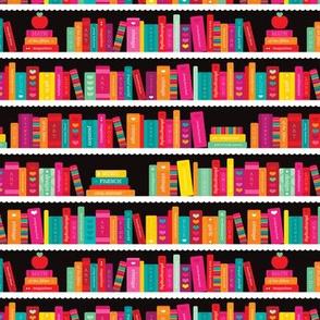 Girls ABC fox book shelf pattern back to school illustration