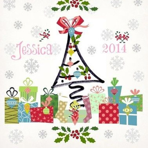 white christmas-personalized pink- name & yr