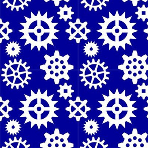 Gears White on Blue