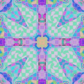 checkerboard_kaleidoscoped_blue_green_lavender_orchid