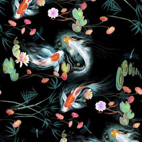 Japanese Water Garden Sideways Black Spoonflower