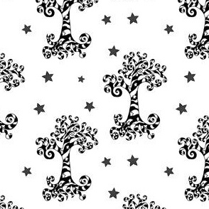 Swirly Black and White Trees with Stars