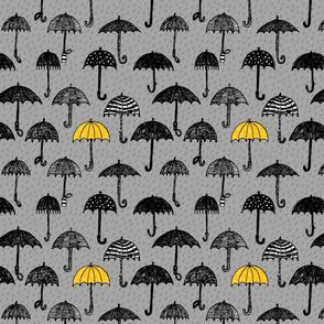 One yellow umbrella