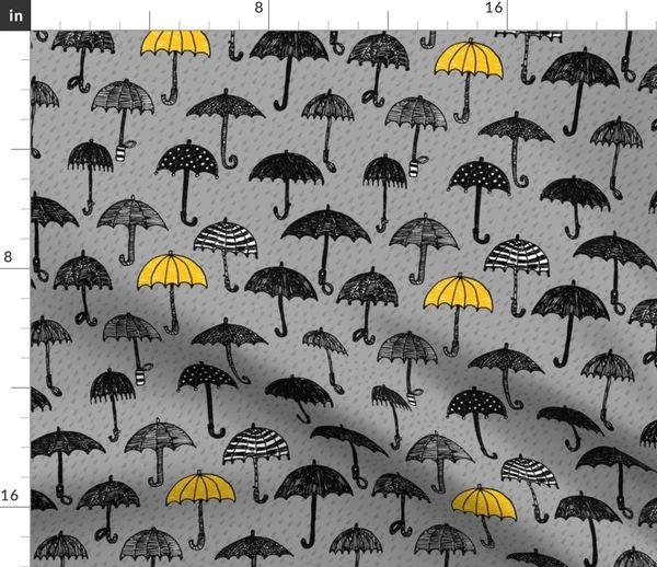 3a8ecbd9aa451 One yellow umbrella - Spoonflower
