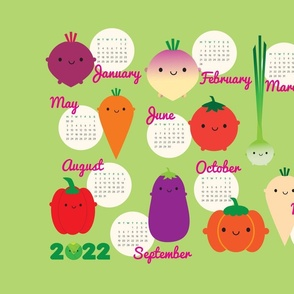 2021 Tea Towel Calendar - 5 A Day Vegetables
