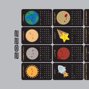 2021 Tea Towel Calendar - Say Hello to the Solar System