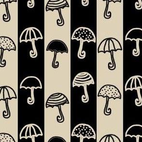 Umbrellas Striped Cream Black