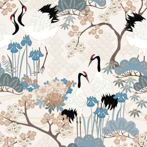 Enlarged Cranes 24 in Japanese Garden Beige