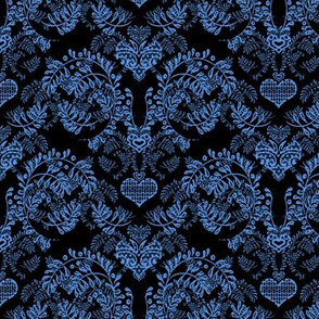 Black and blue damask