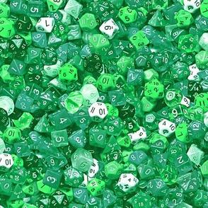 a sea of green dice
