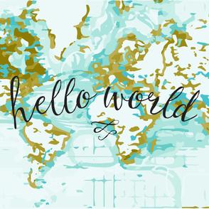 Hello World Baby Blanket or Swaddle // mustard