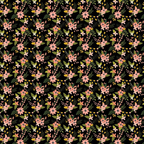 sprigs and blooms // black // extra small