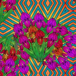 flowers_irises_on_chevrons