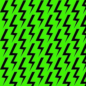 Black Lightning Bolt on Lime Green Background