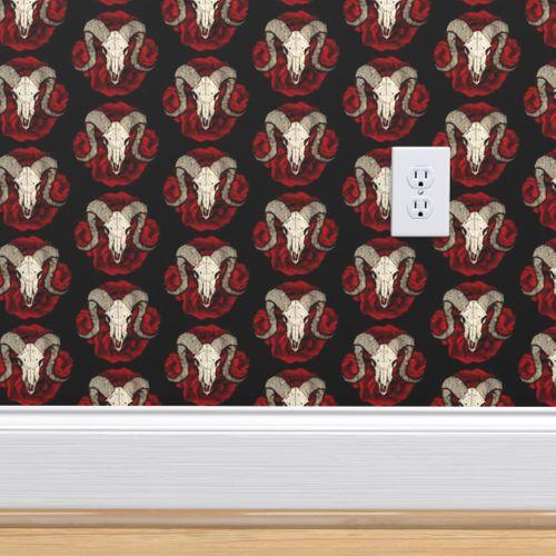 Wallpaper Ram Skull Roses On Black