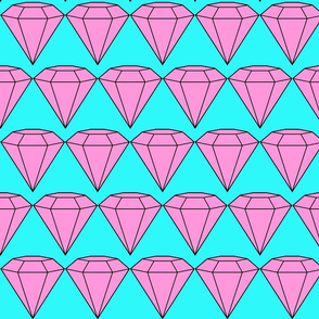 Pink Diamonds on Seafoam Background