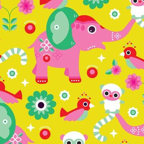 Colorful cute india elephant lemur monkey and flower birds oriental illustration print