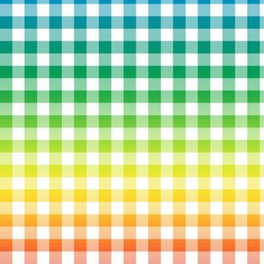 "rainbow and white gingham, ~3/8"" check, rainbow repeats every 12"""