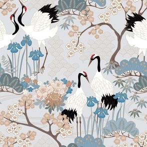 Enlarged Cranes 24 inch Wallpaper Japanese Garden Grey