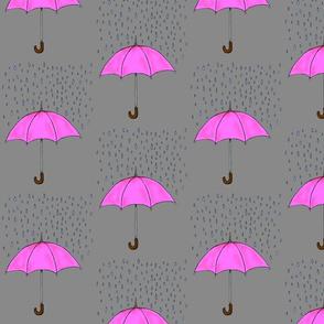 Umbrellas and Raindrops-Pink