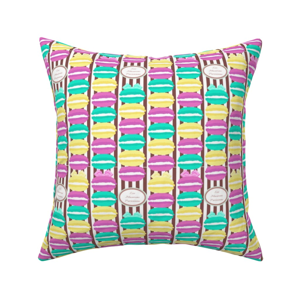 Catalan Throw Pillow featuring Macaron Stripes in Brown by elliottdesignfactory