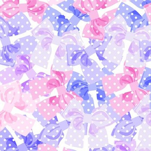 Purple & Pink Dotty Bows Pile