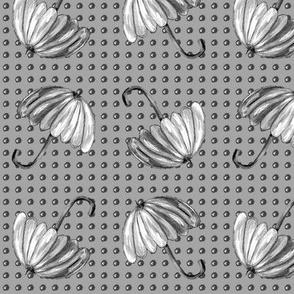 UMBRELLAS Black and White Dotty