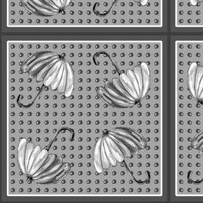 UMBRELLAS Black and White Dotty Framed