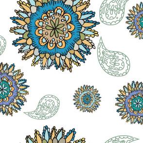 doodle flowers on white feild