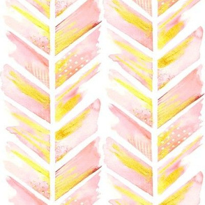 Watercolor Feather Chevron in Blush Pink