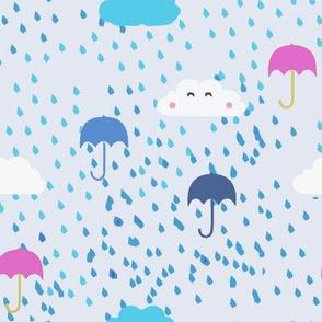 Pink Umbrellas and Raindrops