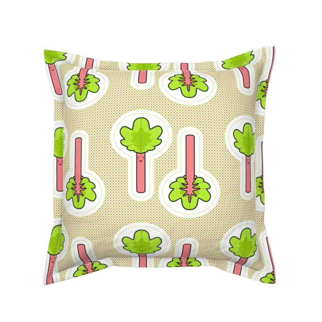 Serama Throw Pillow featuring Rhubarb swatch toy by shala