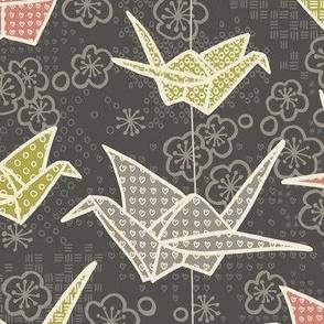 Origami Cranes and Sakura / Rose and Olive