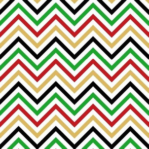 Thin Chevrons - Red, Gold, Green, Black