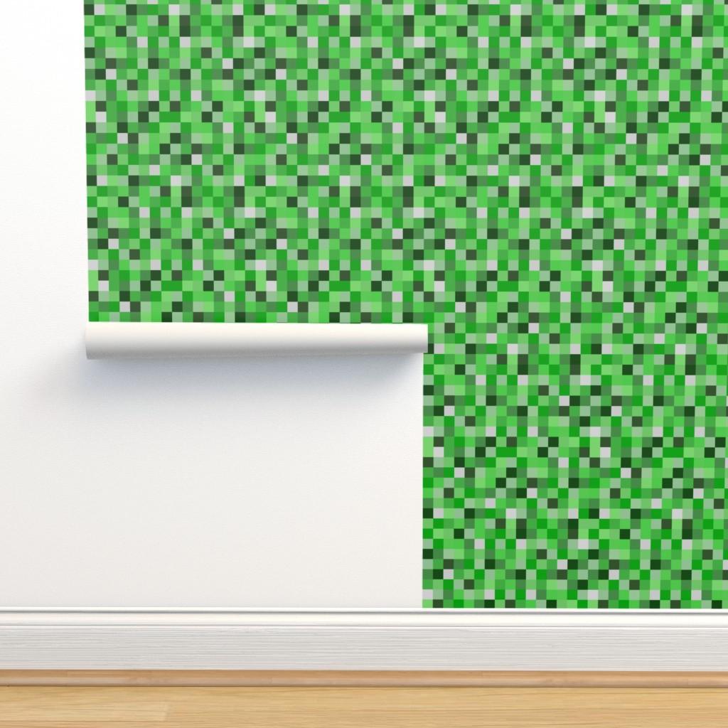 Isobar Durable Wallpaper featuring  8-bit Darker Green Pixels- 3/4ths of an inch by joyfulrose