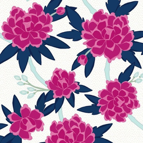 Paeonia in Magenta and Navy