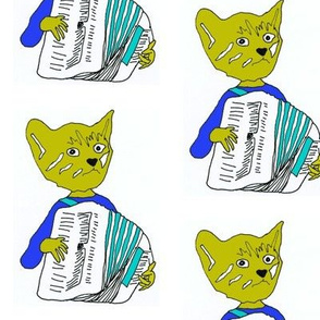 Francois the Accordion Playing Cat- in blue/turquoise