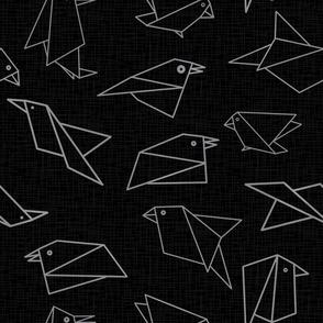 origami birds Black