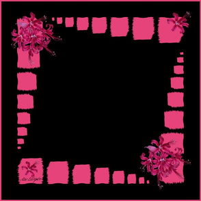 Painted Boxes with Vintage Flowers in pink on black