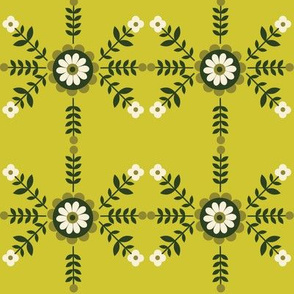 Striped Flowers - Green