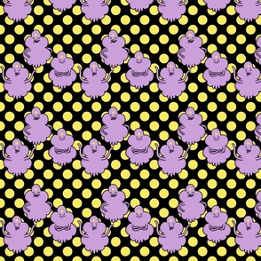 Purple Princess on Black Background with Yellow Spots