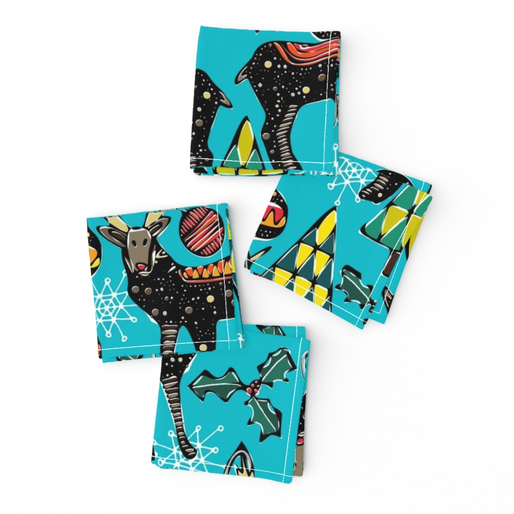 Frizzle Cocktail Napkins featuring festive deer blue by scrummy